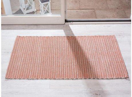 Pad Teppich Snap rot creme beige aus Baumwolle Wolle 72x132 cm