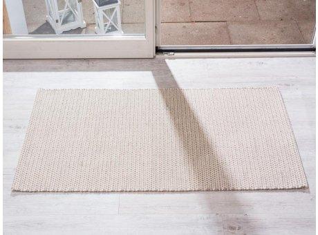 Pad Teppich Snap sand creme aus Baumwolle Wolle 72x132 cm