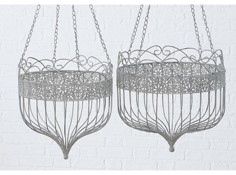 Pflanztopf Hänger LISA Rund aus Metall 2er Set Blumenampel Grau zum Aufhängen