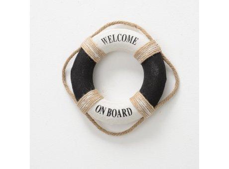 Rettungsring schwarz weiß Welcome on board Maritime Deko 20 cm Durchmesser