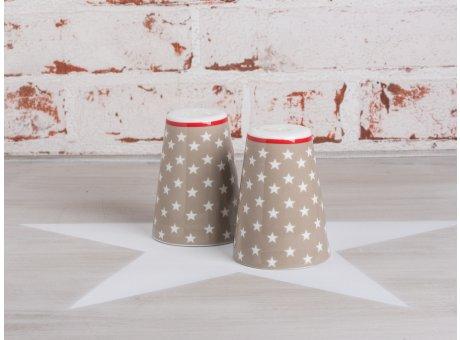 Salz & Pfeffer Streuer taupe mit weißen Sternen Krasilnikoff