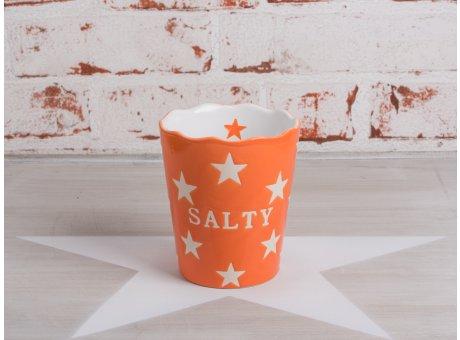 Salzstangen Becher Salty in orange mit weissen Sternen von Krasilnikoff aus Keramik
