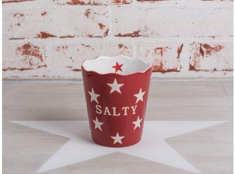 Salzstangen Becher Salty in rot mit weissen Sternen von Krasilnikoff aus Keramik