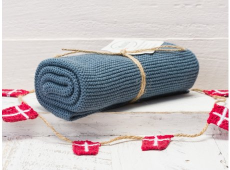 Solwang Handtuch Blau Rustikal Küchentuch Baumwolle gestrickt in rustikalem Blauton H102