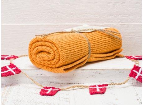 Solwang Handtuch orange gebrannt hell Küchentuch aus Baumwolle gestrickt H10