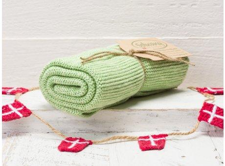 Solwang Handtuch Organisch Grün Küchentuch aus Bio Baumwolle gestrickt in grün meliert OH4445