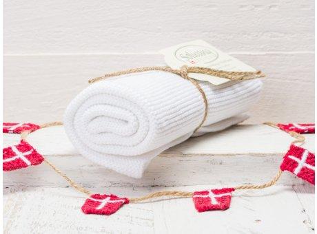 Solwang Handtuch weiß Küchentuch aus Baumwolle gestrickt H01