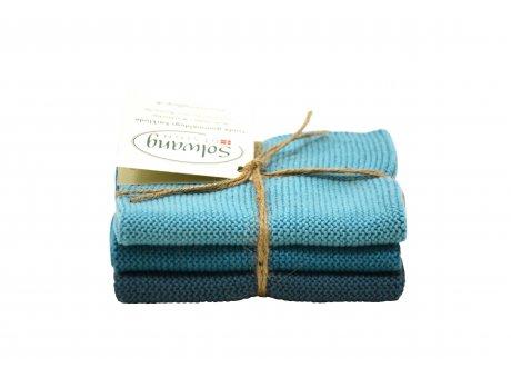 Solwang Wischlappen Azur Blau Kombi Tücher aus Baumwolle im 3er Set Solwang Design