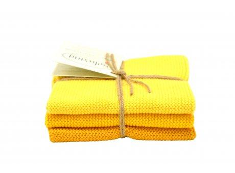 Solwang Wischlappen Gelb Kombi Tücher gestrickt aus Baumwolle in hellgelb und dunkelgelb im 3er Set Solwang Design Wischtücher