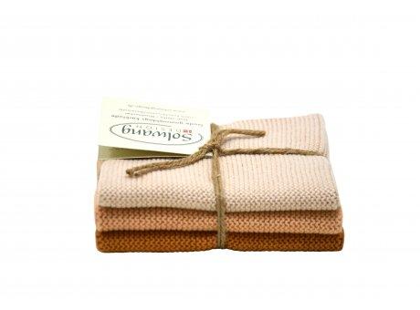 Solwang Wischlappen Latte Kombi Tücher aus Baumwolle in creme beige und braun im 3er Set Solwang Design Wischtücher