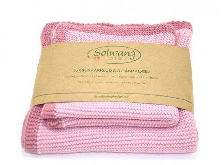 Solwang Wischtuch und Handtuch Antik Rosa Öko Tex Baumwolle gestrickt Solwang Frame Set Nr FRS103104