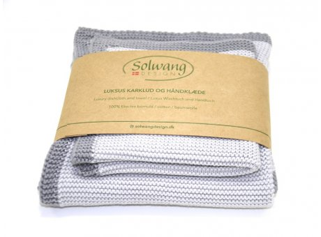Solwang Wischtuch und Handtuch Grau Öko Tex Baumwolle gestrickt hellgrau Solwang Frame Set Nr FRS9192