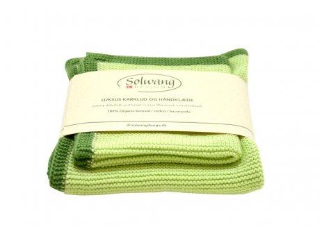 Solwang Wischtuch und Handtuch Grün Bio Baumwolle gestrickt Solwang Frame Set Hellgrün Nr FRS4446