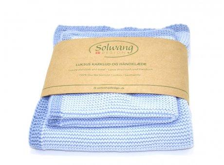 Solwang Wischtuch und Handtuch Staubig Blau Öko Tex Baumwolle gestrickt Solwang Frame Set Nr FRS4347