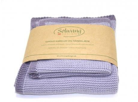 Solwang Wischtuch und Handtuch Staubig Lila Öko Tex Baumwolle gestrickt Solwang Frame Set Nr FRS8128