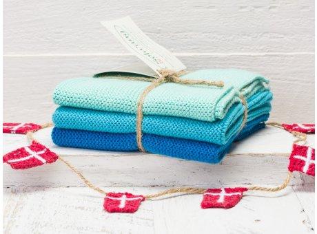 Solwang Wischtücher Aqua Türkis Kombi 3er Pack Wischtuch aus Öko Tex zertifizierte Baumwolle