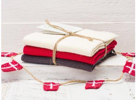 Solwang Wischtücher Creme Rot Grau Kombi 3er Pack Wischtuch aus Öko Tex zertifizierte Baumwolle