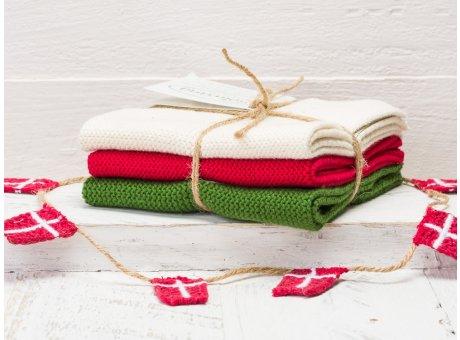 Solwang Wischtücher Creme Rot Grün Kombi 3er Pack Wischtuch aus Öko Tex zertifizierte Baumwolle