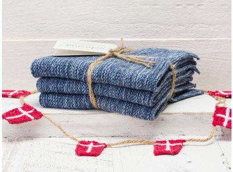 Solwang Wischtücher Dunkel Blau Meliert 3er Pack Wischtuch aus Öko Tex zertifizierte Baumwolle in Denim Mix