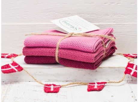 Solwang Wischtücher Dunkel Rosa Kombi 3er Pack Wischtuch aus Öko Tex zertifizierte Baumwolle Drei rosane Wischlappen im Set