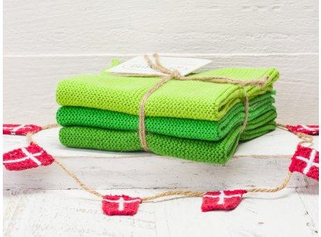 Solwang Wischtücher Frisches Grün Kombi 3er Pack Wischtuch aus Öko Tex zertifizierte Baumwolle in Hellgrün