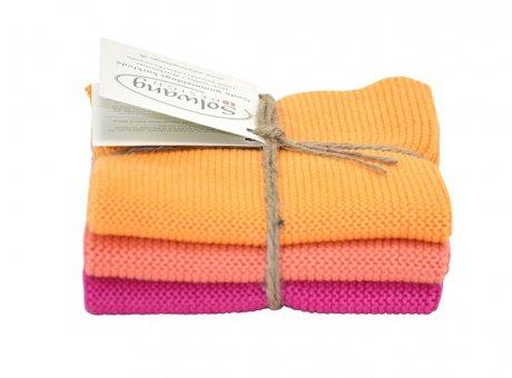 Solwang Wischtücher Frohe Farben Baumwolle 3 Tücher gestrickt pink orange Solwang Tücher Set Nr 041568