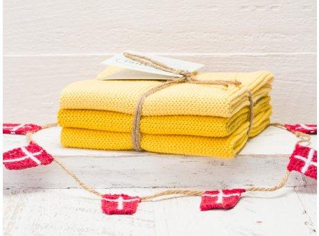 Solwang Wischtücher Gelb Kombi 3er Pack Wischtuch aus Öko Tex zertifizierte Baumwolle Drei verschiedene gelbe Wischlappen im Set