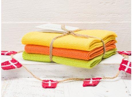 Solwang Wischtücher Gelb Orange Lime Grün Kombi 3er Pack Wischtuch aus Öko Tex zertifizierte Baumwolle