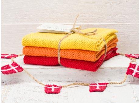 Solwang Wischtücher Gelb Orange Rot Kombi 3er Pack Wischtuch aus Öko Tex zertifizierte Baumwolle