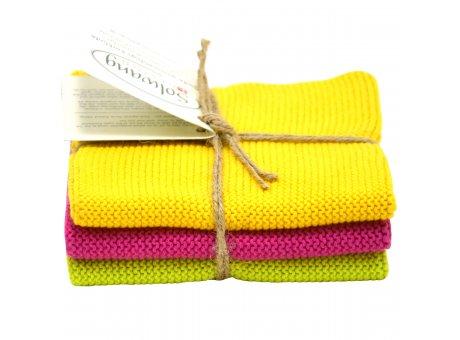 Solwang Wischtücher Gelb Pink Lime kombi aus Baumwolle 3 gestrickte Solwang Tücher im Set