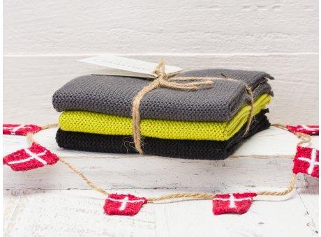 Solwang Wischtücher Grau Citron Gelb Schwarz Kombi 3er Pack Wischtuch aus Öko Tex zertifizierte Baumwolle