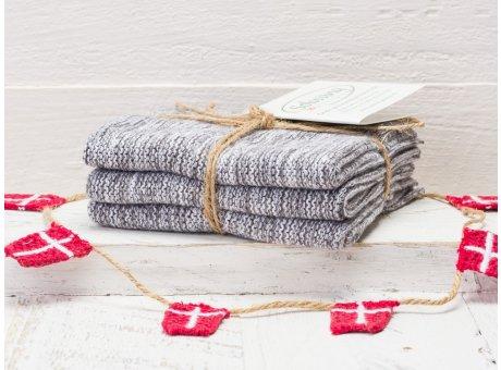 Solwang Wischtücher Grau Meliert 3er Pack Wischtuch aus Öko Tex zertifizierte Baumwolle in Weiß Grau Mix