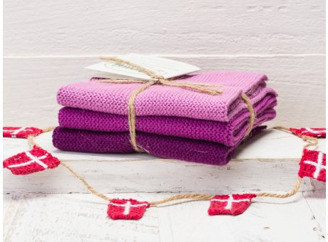 Solwang Wischtücher Heide Kombi 3er Pack Wischtuch aus Öko Tex zertifizierte Baumwolle in Lila Purple