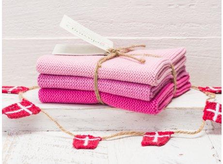 Solwang Wischtücher Hell Rosa Kombi 3er Pack Wischtuch aus Öko Tex zertifizierte Baumwolle