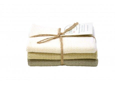 Solwang Wischtücher helles khaki grün kombi aus Baumwolle 3 gestrickte Solwang Tücher im Set