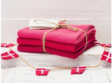 Solwang Wischtücher Himbeere Kombi 3er Pack Wischtuch aus Öko Tex zertifizierte Baumwolle in rot