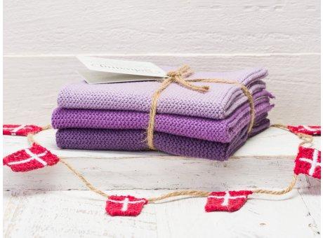 Solwang Wischtücher Lila Kombi 3er Pack Wischtuch aus Öko Tex zertifizierte Baumwolle 3 unterschiedliche Lila Farbtöne