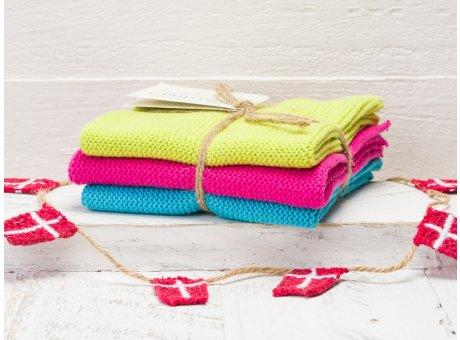 Solwang Wischtücher Lime Pink Türkis Kombi 3er Pack Wischtuch aus Öko Tex zertifizierte Baumwolle