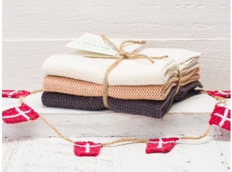 Solwang Wischtücher Natur Nougat Warm Grau Kombi 3er Pack Wischtuch aus Öko Tex zertifizierte Baumwolle