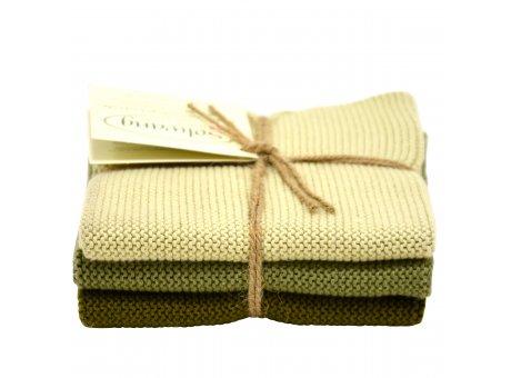 Solwang Wischtücher oliven kombi aus Baumwolle 3 gestrickte Solwang Tücher grün im Set