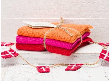 Solwang Wischtücher Orange Pink Rot Kombi 3er Pack Wischtuch aus Öko Tex zertifizierte Baumwolle