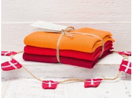Solwang Wischtücher Orange Rot Dunkelrot Kombi 3er Pack Wischtuch aus Öko Tex zertifizierte Baumwolle