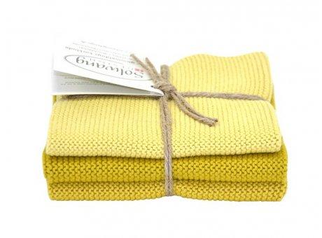 Solwang Wischtücher Safran Kombi Baumwolle Spültuch Gelb 3 Lappen gestrickt Solwang Wischtuch Set Nr 128129130
