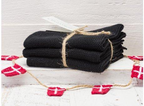 Solwang Wischtücher Schwarz 3er Pack Wischtuch aus schwarzer Öko Tex zertifizierte Baumwolle