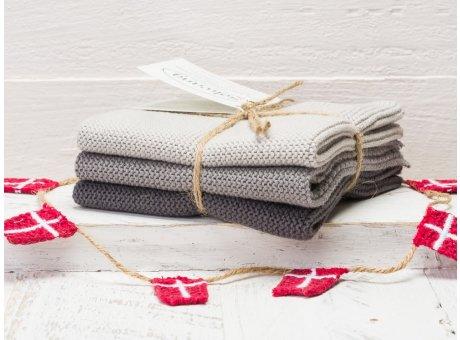 Solwang Wischtücher Stahlgrau Kombi 3er Pack Wischtuch aus Öko Tex zertifizierte Baumwolle grau hellgrau und dunkelgrau