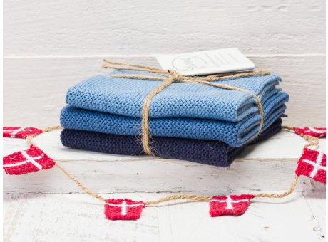 Solwang Wischtücher Staubig Blau Kombi 3er Pack Wischtuch aus Öko Tex zertifizierte Baumwolle in Hellblau und Dunkelblau