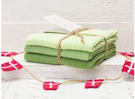 Solwang Wischtücher Staubig Grün Kombi 3er Pack Wischtuch aus Öko Tex zertifizierte Baumwolle in Hellgrün