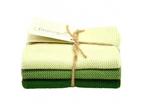 Solwang Wischtücher waldgrün kombi aus Baumwolle 3 gestrickte grüne Solwang Tücher im Set