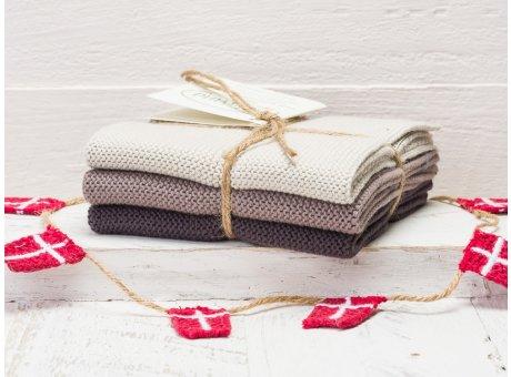 Solwang Wischtücher Warmgrau Kombi 3er Pack Wischtuch aus Öko Tex zertifizierte Baumwolle grau hellgrau und dunkelgrau