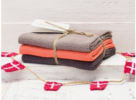 Solwang Wischtücher Warmgrau Koralle Kombi 3er Pack Wischtuch aus Öko Tex zertifizierte Baumwolle in Grau und Orange